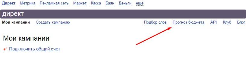 прогноз бюджета в Яндекс Директ